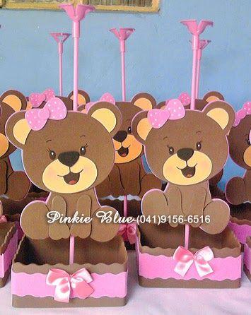 Pinkie Blue Artigos para festa: Centro de mesa da Ursinha marrom e rosa com base pra colocar balinhas