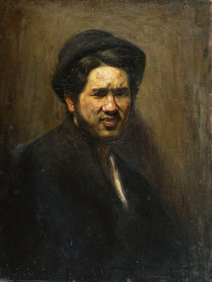 Self portrait, door: Nakamura Tsune 1909. In dit kunstwerk zie je een duidelijk zwart-wit contrast, de man z'n jas en hoofd. Verder is de lichtval erg mooi weergegeven zo van boven.