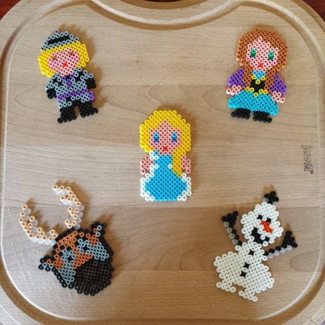 Frozen characters hama perler beads by kreatas
