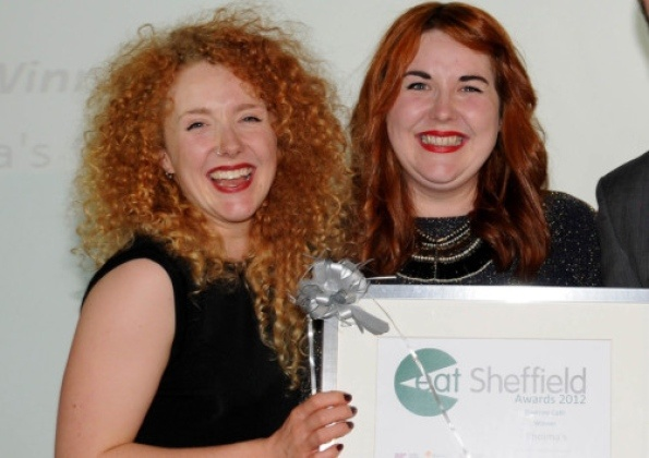 Hard work pays off: Sisters Emily and May Rowley pick up their award for Best Daytime Cafe in the 2012 Eat Shefield Awards