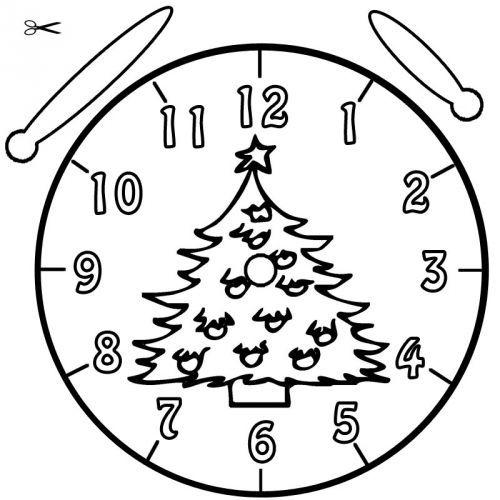 uhrzeit lernen die uhr lernen ausmalbild christbaum zum. Black Bedroom Furniture Sets. Home Design Ideas