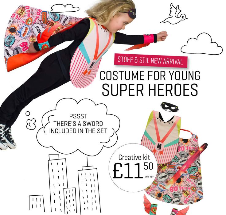 DIY costume for young super heroes with sword