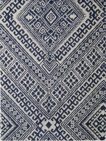 """Santa Maria Prussian Nate Berkus Fabric, Jacquard fabric, durable 20,000 double rubs. 100% cotton. Perfect for upholstery fabric, drapery fabric, pillow covers or top of the bed. Repeat; V 13.75"""" x H 6.75"""". 54"""" wide"""