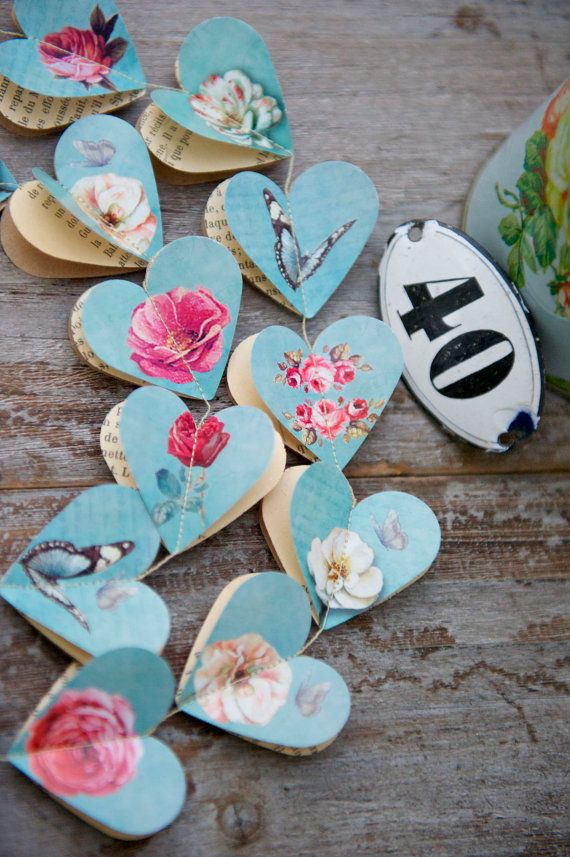 Paper garland, Victorian Roses AQUA, HEARTS, for wedding, party, birthday, home decoration