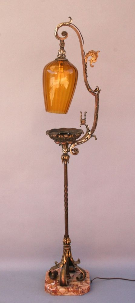 Details about 1920s Floor Lamp W Ashtray W Amber Glass