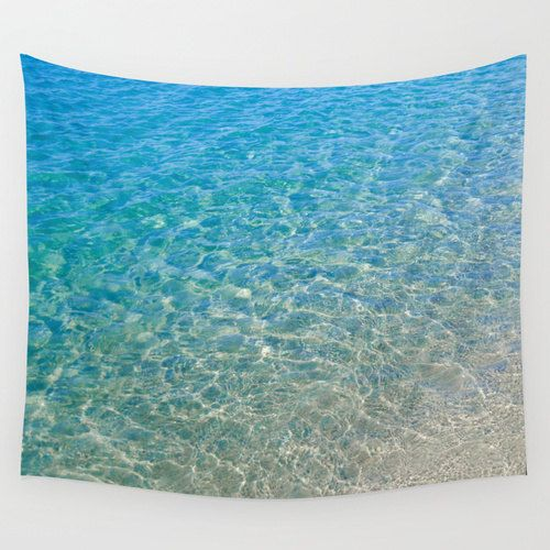 Ocean Wall Tapestry Clear turquoise ocean in Malibu, California, tropical sea water, wall hanging decor, grommets, 26x36, 50x59, 88x104 Inch