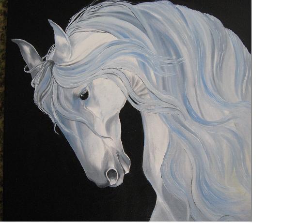 Obraz koně - Běloušek - olejomalba