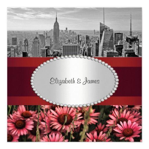 NYC Skyline BW 1A High Line Flowers 1 Wedding Personalized Invite
