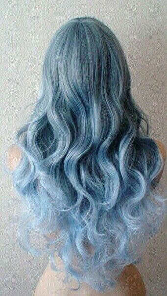 Blue Teal Hair Pastel Bright Colour Color Coloured Colored Curls Curl Curly