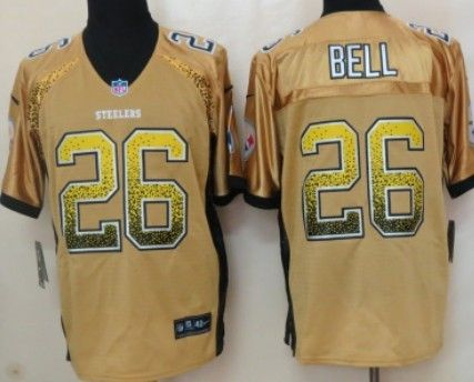 26427d1df6c ... 80th Anniversary Nike Pittsburgh Steelers 26 LeVeon Bell 2013 Drift  Fashion Yellow Elite Jersey .