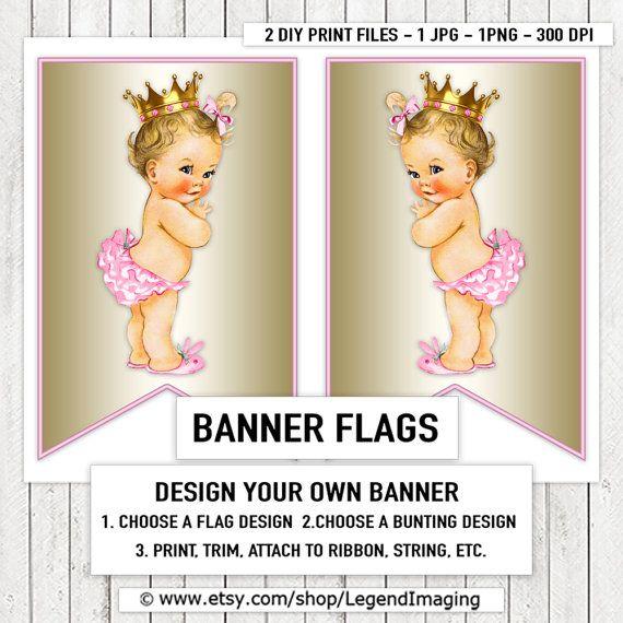 Rosa oro Princess Baby Shower bandera del empavesado banderas rubia