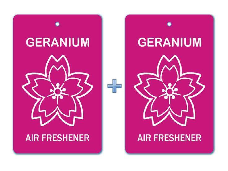 Geranium Floral Air Freshener Paper Hanging Bar (Pack of 2)/ Car-Home- Office Natural Pocket Perfume