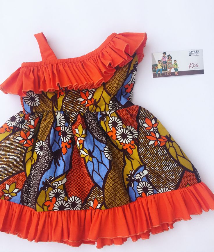 African Fashion for little kids. African print dress made by BAYABS. Find more African fashion for little girls on Facebook: BAYABS and @bayabsgh_kids on Instagram Wax prints| African Print| Diaper Bag| African Textile| girls dress