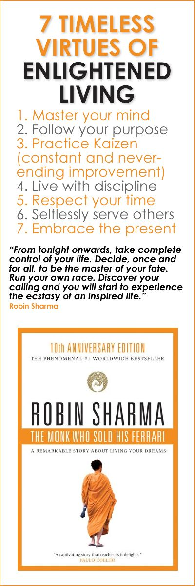 "7 Timeless Virtues of Enlightened Living - a BookOGraphic based on the book, ""The Monk Who Sold His Ferrari"" by Robin Sharma"