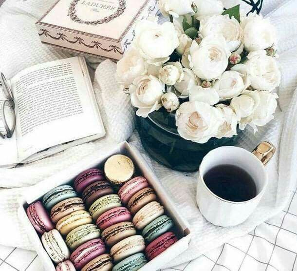 Macaroons, peonies and coffee how else do you start your morning?