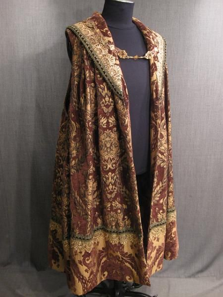 09017695 Robe Mens Renaissance brown gold chenille brocade XL.JPG