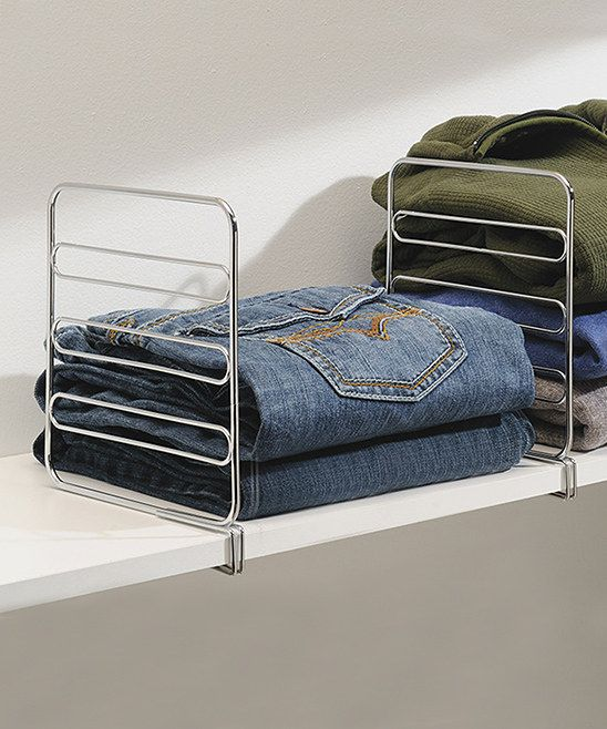 Closet Shelf Dividers - great for stacks of pants or sweaters, mine always fall over!