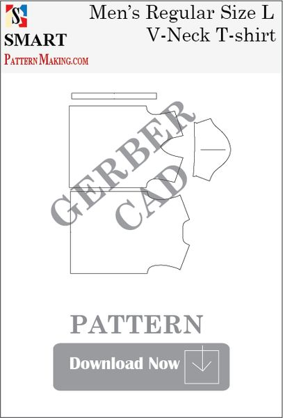 Gerber/CAD Men's V Neck T-Shirt Sewing Pattern Download
