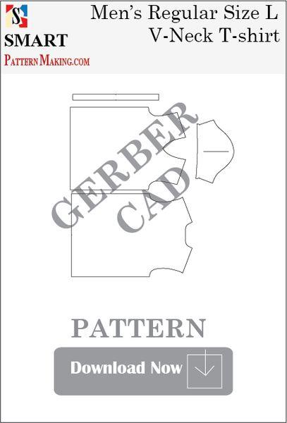 Gerber/CAD Men's V Neck T-Shirt Sewing Pattern Download