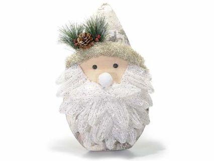 Babbo Natale addobbo decorazione  con glitter e pigne da appoggiare cm 27,5 x 10,5 x 43 H