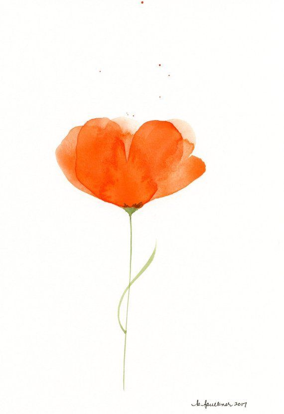 Watercolor Flowers Original Watercolor Painting Of An Orange