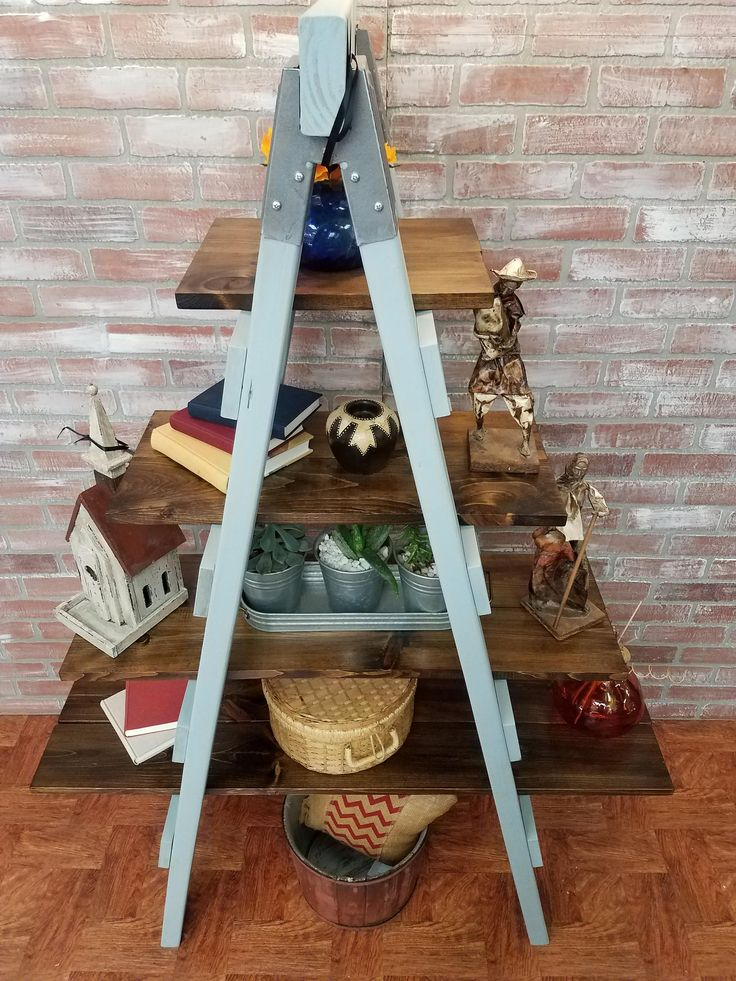 farmhouse style ladder shelf, rustic furniture, bookshelf, painted furniture, farmhouse style furniture, primitive furniture by RoysTimelessTreasure on Etsy
