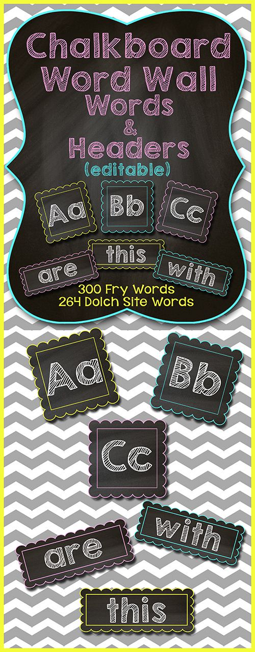 CHALKBOARD Word Wall Words and Headers - EDITABLE!!!!  Over 550 Words Included (Fry AND Dolch)$