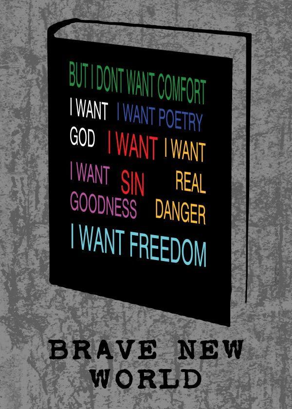 Brave New World Poster by Emily Pigou #book #cover #poster #bravenewworld #fantasy #scifi #design #homedecor #displate