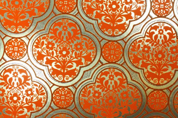 1970's Vintage Wallpaper Gold Foil Background With Orange Flocked Geometric Pattern On Etsy, $18