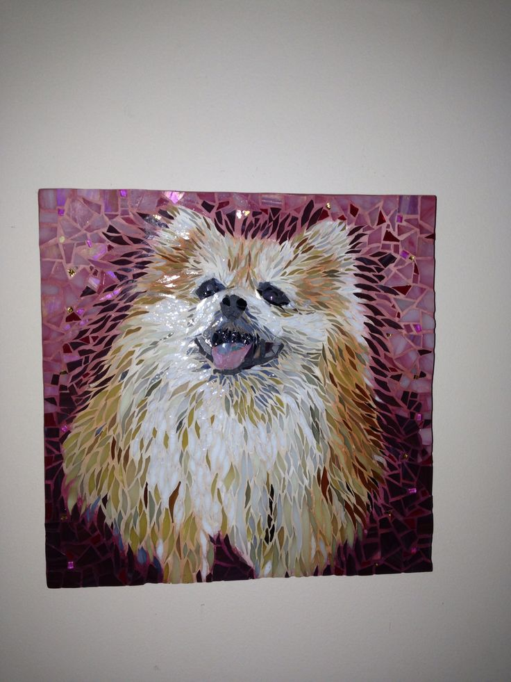 """""""Amber"""" mosaic pet portrait- 12"""" x 12"""" stained glass on birchwood primed and sealed. Private Commission"""