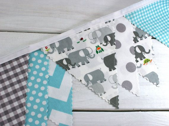 Bunting, Banner, Photography Prop, Fabric Flags, Elephant Baby Nursery Decor, Birthday Decoration - Gray, Aqua Blue, Grey, Chevron, Circus