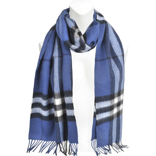 Burberry Giant Icon Check cashmere scarf (5.655.645 IDR) ❤ liked on Polyvore featuring accessories, scarves, blue, burberry shawl, cashmere scarves, blue shawl, burberry scarves and burberry