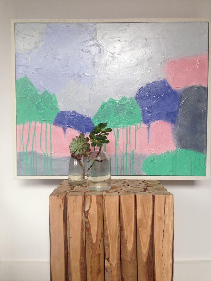 Art Painting Abstract Landscape (Daniela Kiss - Woods Edge. Acrylic on canvas 80X64cm) FOR SALE $420AUD