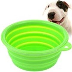 Portable Stretchable Silicon Food Feeder Dish Serving Bowl Water Container for Cat Dog Pet - Color Assorted