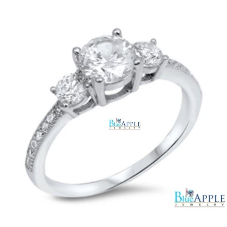 Three Stone Wedding Engagement Anniversary Ring Solid 925