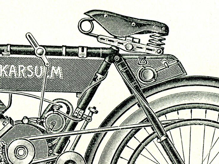 Detail obrazu histirických motorových kol a tříkolky