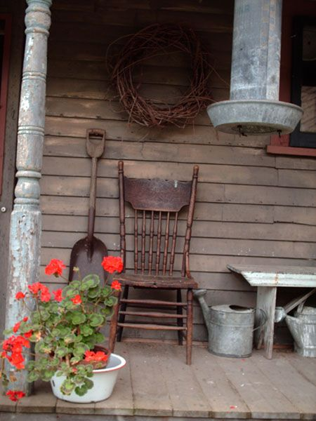 old chair and watering can: Country Porches, Prim Porch, Watering Cans, Country Living, Old Chairs, Primitive Porch