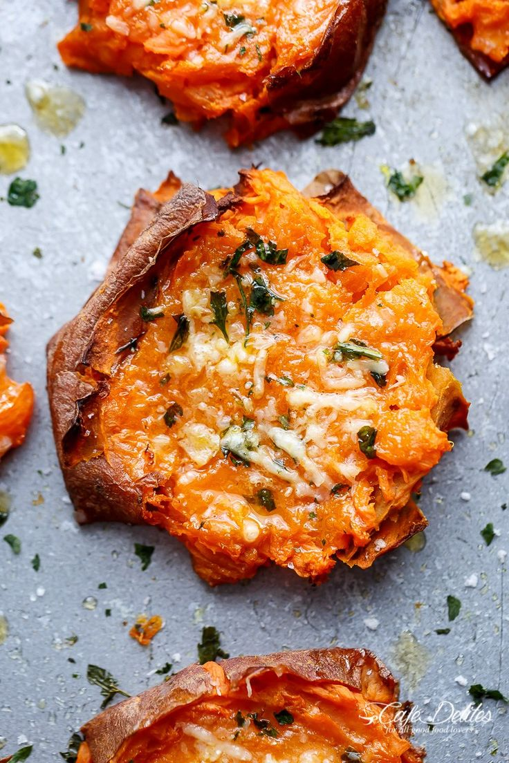 Garlic Butter Smashed Sweet Potatoes With Parmesan   http://cafedelites.com