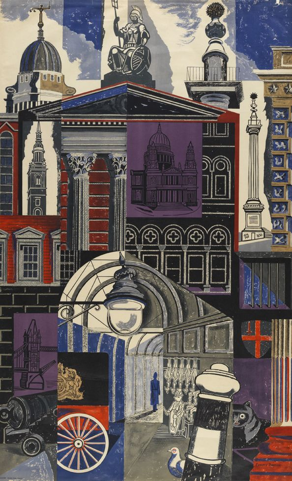 'The City' by Edward Bawden, 1952 (lithograph)