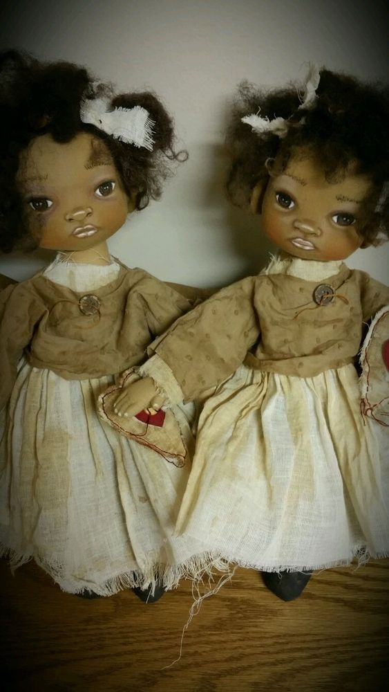 "Primitive folk art black plantation babies dolls ""Tilley"" and ""Tulley""  14"" doll #BlackFolkArt"