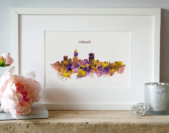 Indianapolis Skyline Silhouette Watercolor painting by Artsyndrome