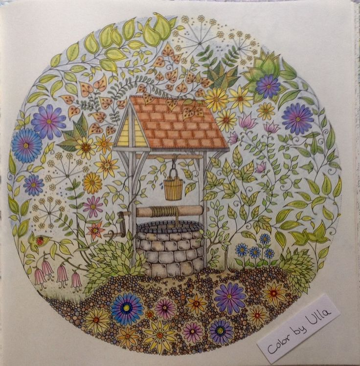 """My version, from the book """"Secret Garden"""" by Johanna Basford, painted with Faber-Castell Polychromos pencils."""