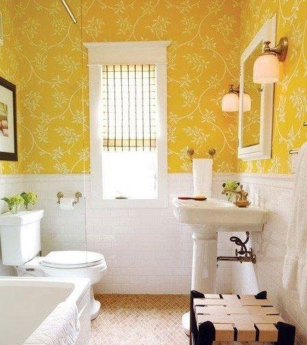 желтый цвет в ванной комнате