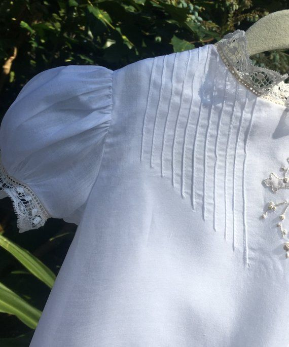 8ab7f04a4af French Handsewn Dedication or Baptism Gown abd Bonnet in Pima | Etsy ...