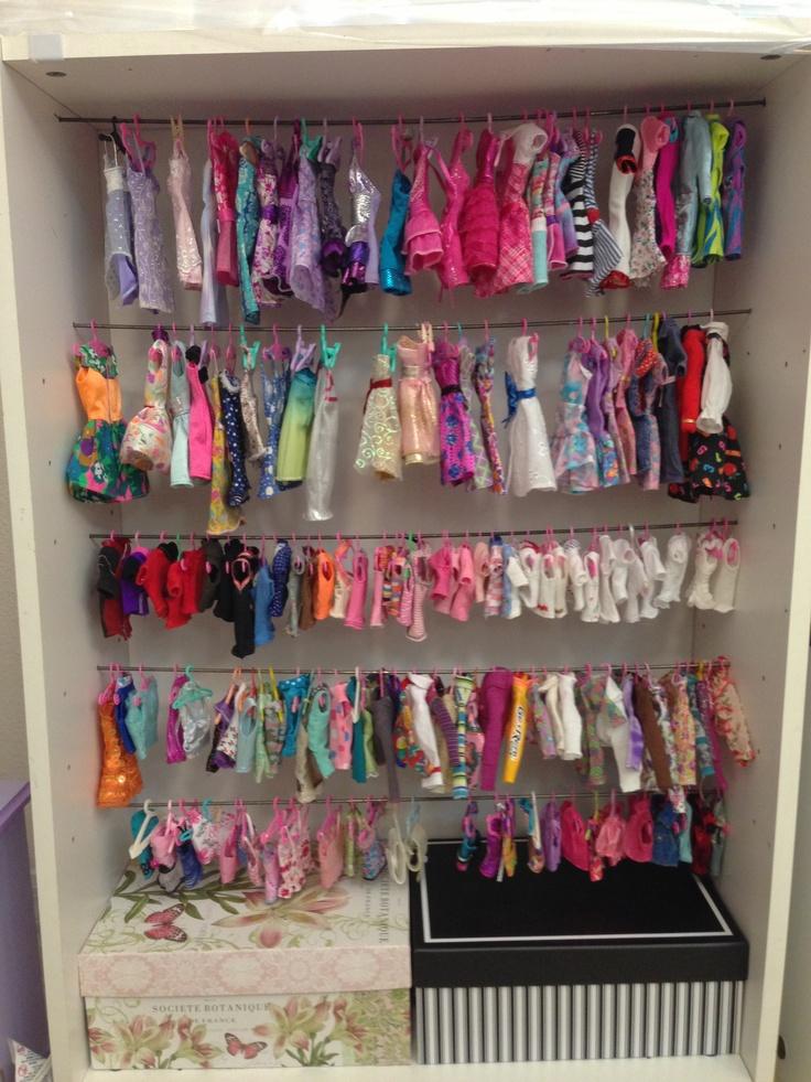Barbie closet/clothes storage Doll clothes storage ideas