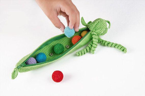 Rainbow Peas in Pod Development Toy 3y Crochet by DolcelinaShop