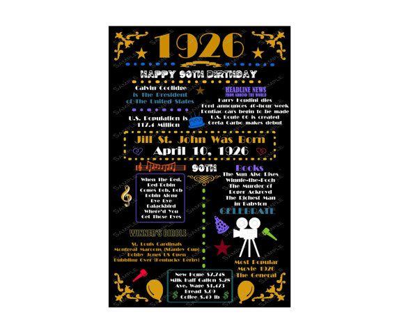 Personalized 1926 90th Birthday Gift 90th Birthday Gift Ninety Birthday Gift Ideas Birthday Party Decorations 11 x 17 DIGITAL DOWNLOAD .JPG