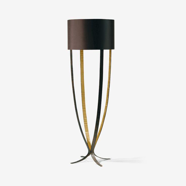 Porta Romana - MFL29S, Alfonse Floor Lamp, Small - Fired Copper with Bright Gold