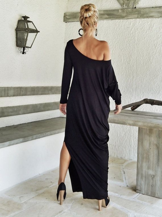 Black Maxi Long Sleeve Dress / Black Kaftan / by SynthiaCouture