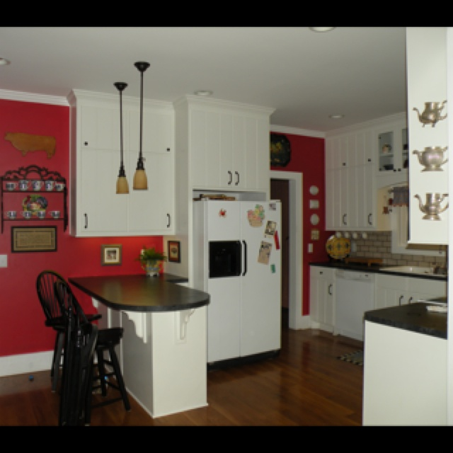 Red Wall And White Cabinets Kitchens Pinterest White